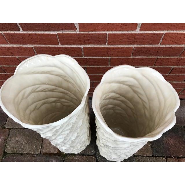 Ceramic Vintage Tropical Leaf Design Tall White Ceramic Floor Vases - a Pair For Sale - Image 7 of 9