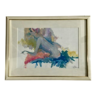 Mid-Century Nude Gouache Watercolor Painting For Sale