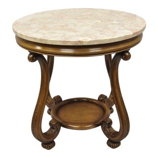 Vintage Hollywood Regency French Style Pink Marble Top Round Side Table For Sale