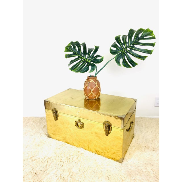 Vintage Campaign Chest Coffee Table Trunk For Sale - Image 4 of 10