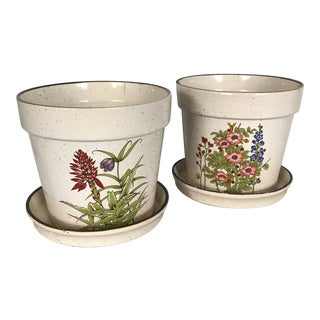 1980's Japanese Ceramic Plant Pots & Saucers - a Pair For Sale