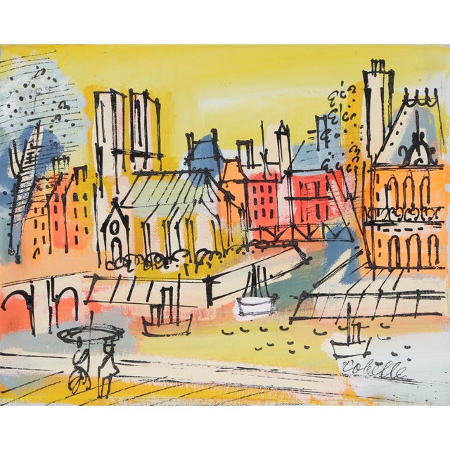 Mid-Century Modern Charles Cobelle, Notre Dame Across the Seine, Acrylic on Canvas, Signed Lower Right For Sale - Image 3 of 3