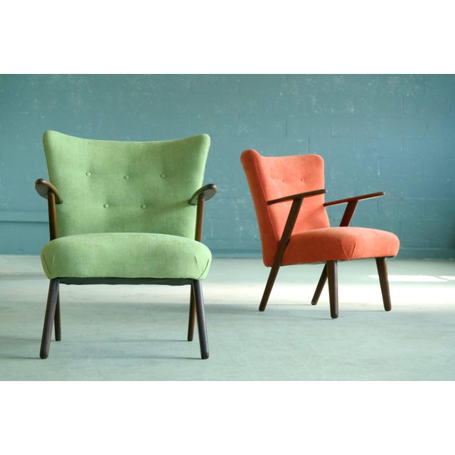 Pair of Danish 1950s Teak Lounge or Cocktail Chairs in the Style of Kurt Olsen For Sale - Image 9 of 9