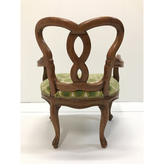 Early 20th Century Early 20th Century Hand Carved Satin Wood Italian Vanity Chair Cabriole Leg For Sale - Image 5 of 12