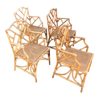 Chinese Chippendale Authentic Bamboo Arm Chairs- Set of 4 For Sale