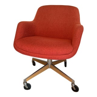 1970's Steelcase Mid-Century Modern Red Swivel Barrel Chair For Sale