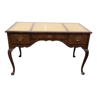 Baker Queen Anne Style Leather Top Desk For Sale