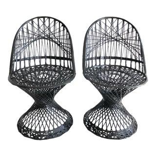 Black Painted Finish Spun Fiberglass Patio Chairs - A Pair