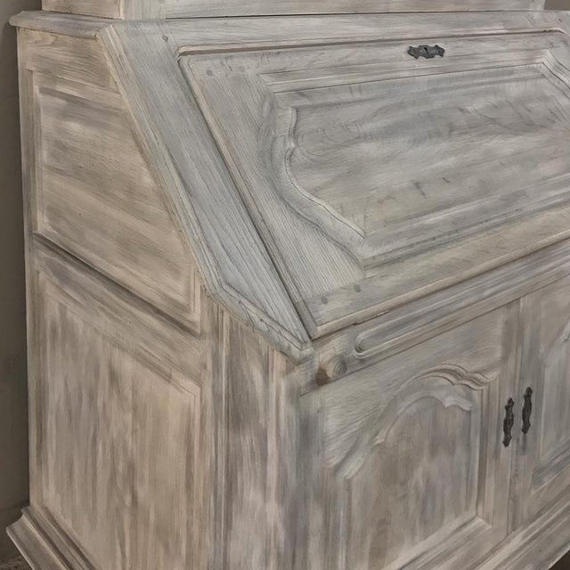 Rustic Antique Country French Whitewashed Secretary ~ Bookcase For Sale In Dallas - Image 6 of 13
