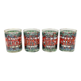Vintage Faux Stained Glass Christmas Low Ball Glasses-Set of 4 For Sale