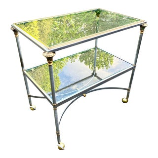 Maison Jansen Style Brushed Steel and Brass Bar Cart For Sale