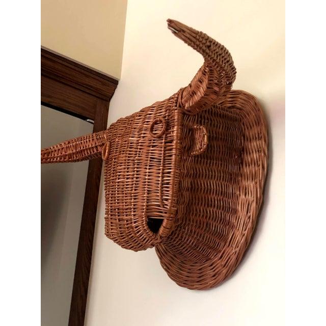 Folk Art 20th Century Wicker Bull Head For Sale - Image 3 of 6
