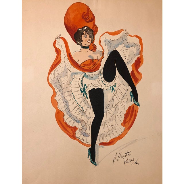 Mid-Century Can Can Dancer Painted in Paris by Alice Huertas For Sale