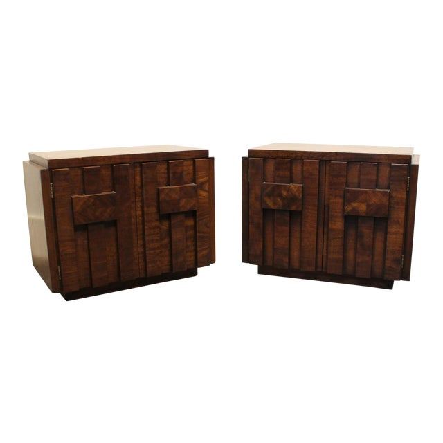 Pair of 1970s Mid-Century Modern Brutalist Nightstands by Lane For Sale