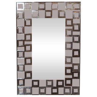 Modernist Hand Blown Murano Smoked Mirror With Square Motifs in Relief For Sale