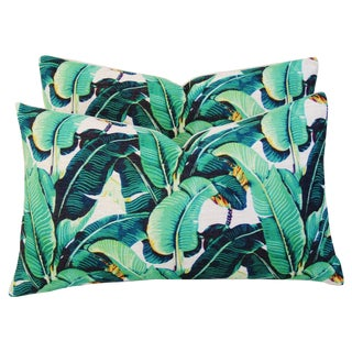 Dorothy Draper-Style Banana Leaf Pillows - A Pair