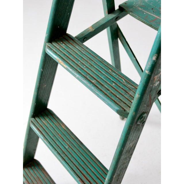 Vintage Green Wooden Ladder For Sale - Image 9 of 10