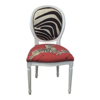 Louis XV Style White Round Back Side Chair - Scalamandre Zebra Fabric