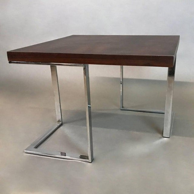 Milo Baughman 1960s Mid-Century Modern Rosewood and Chrome Coffee or Side Table For Sale - Image 4 of 6