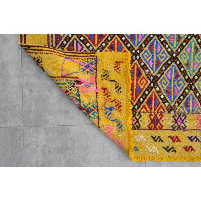 Canary Yellow Hand Woven Vintage Turkish Kilim Rug. Wool Braided Area Rug Kilim Jajim- 5′5″ × 7′ For Sale - Image 8 of 9