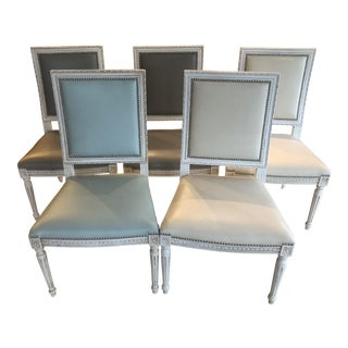 Modern Massoud Leather Dining Chairs- Set of 5 For Sale