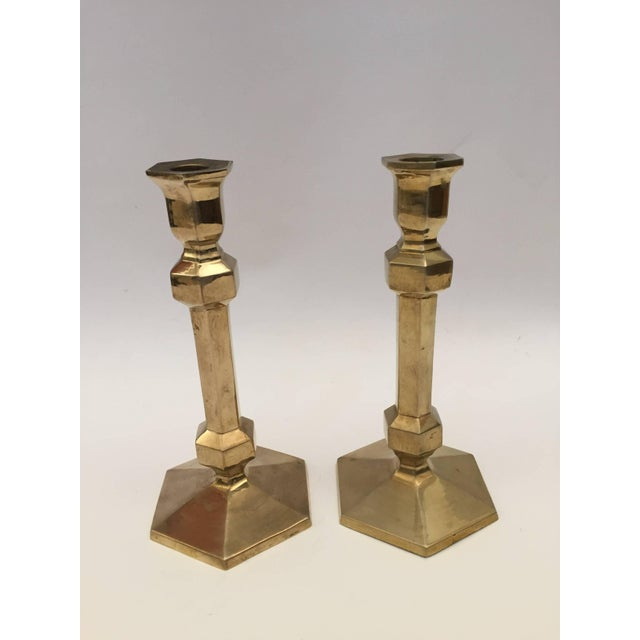 Metal Pair of Brass Candlesticks For Sale - Image 7 of 9