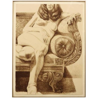"""1970s Vintage Philip Pearlstein """"Girl on an Empire Sofa"""" Print For Sale"""