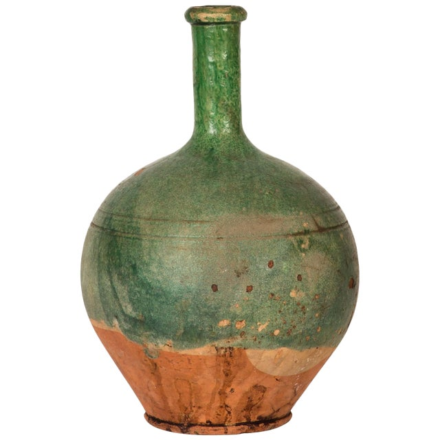 Green Glazed Confit Jug in the Shape of a Bottle For Sale