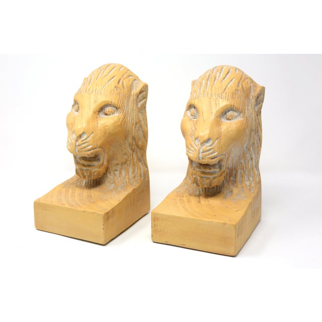 Vintage Hand Carved Lion Head Bookends For Sale - Image 10 of 10