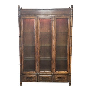 1970s Vintage Century Furniture Faux Bamboo China Cabinet For Sale