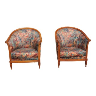 1940s Vintage Paul Follot Style French Art Deco Club Chairs- A Pair For Sale