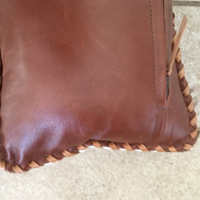 Animal Skin Handmade Leather & Cowhide Lumbar Texas Pillow For Sale - Image 7 of 11