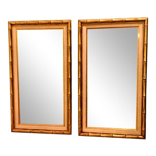 Chinoiserie Faux Bamboo Gilt Mirrors - a Pair For Sale