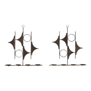 Vintage Spanish Abstract Iron Candle Wall Sconces For Sale