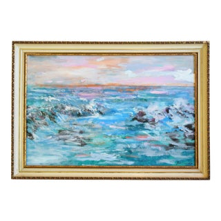 Juan Guzman Ventura California Crashing Ocean Waves Oil Painting For Sale
