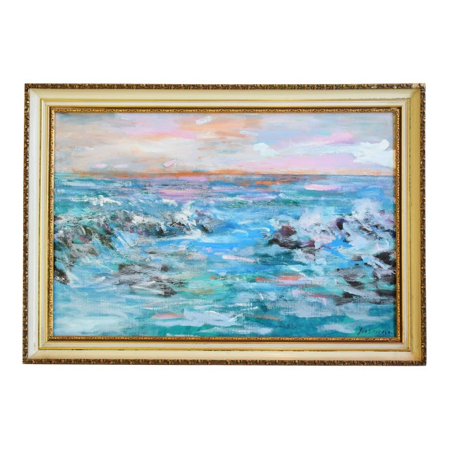 Juan Guzman Ventura California Crashing Ocean Waves Oil Painting For Sale