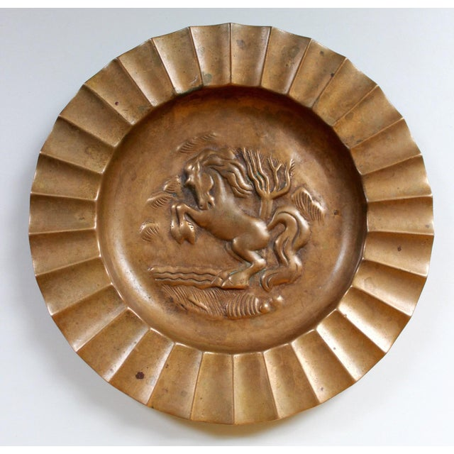 A fantastic vintage Ystad-Metall Sweden bronze dish, with a relief of a rearing horse. Originally intended as an ashtray,...