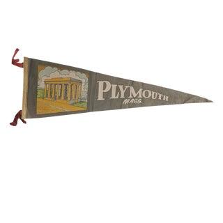 Vintage Plymouth Mass. Felt Flag Pennant For Sale