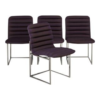 Set of Four Nickel-Framed Silk Dining Chairs, Late 1960s For Sale