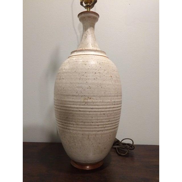 Speckled Eggshell Glazed Danish Pottery Lamp For Sale - Image 4 of 8