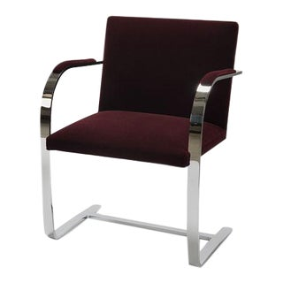 Burgundy Velvet Brno Armchair With Chrome Flat Bar Frame For Sale