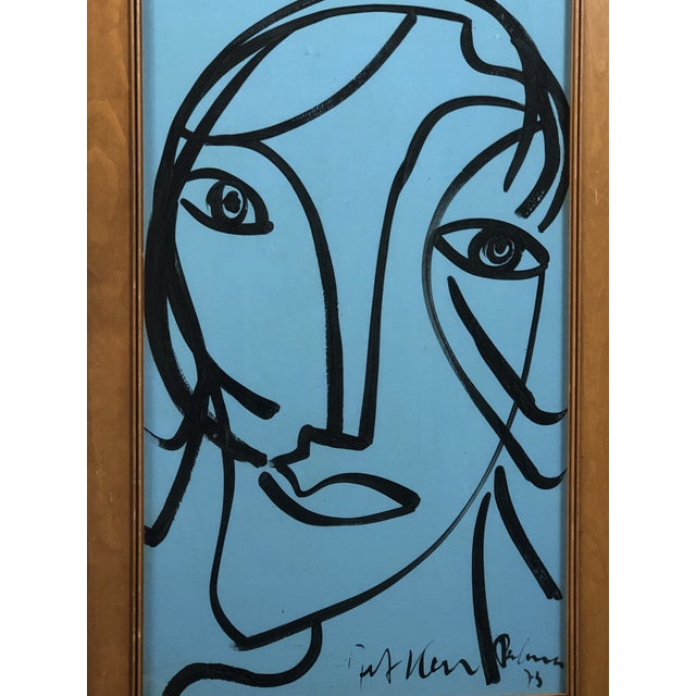 """This painting titled """"Blue Face"""" is by artist Peter Keil. The COA is included. 1983 Oil on board"""