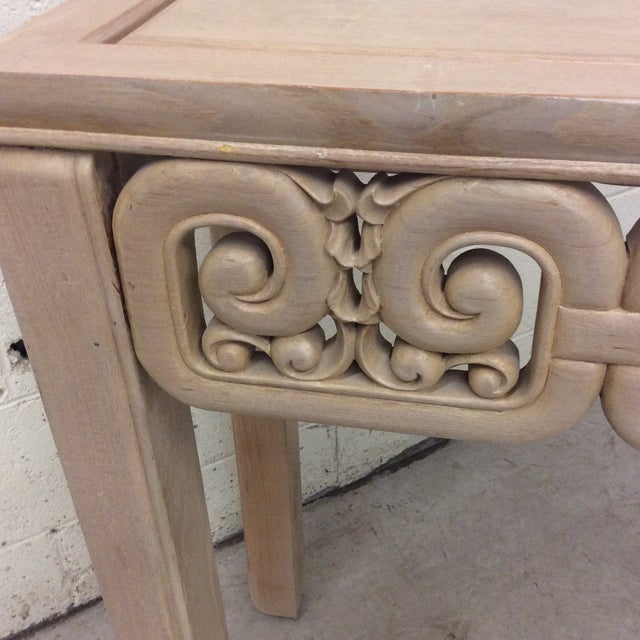1970s Asian Style White Wash Wood Carved Console Table For Sale - Image 5 of 12
