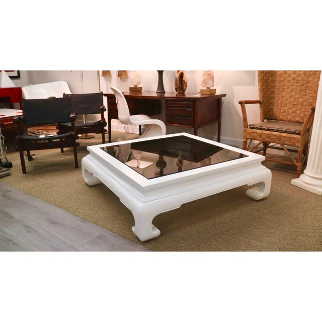 Lacquered Chinese Table With Smoked Glass For Sale In New York - Image 6 of 8