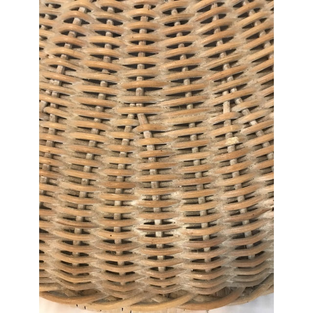 Mid 20th Century Vintage Wicker Parasol Pendant Light For Sale - Image 4 of 8