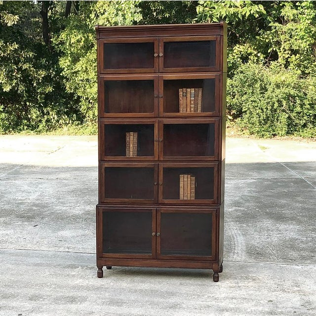 Early 20th Century Antique English Mahogany Bookcase ~ File Cabinet For Sale - Image 5 of 12