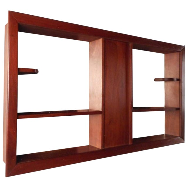 Mid-Century Modern Walnut and Mirrored Shadow Box For Sale