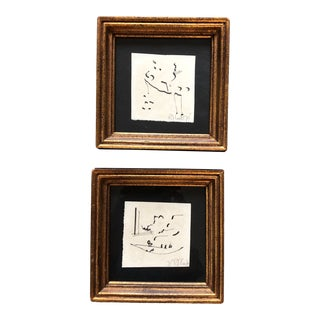 Gallery Wall Collection 2 Vintage Miniature Robert Cooke Abstract Ink Drawings 1970's For Sale