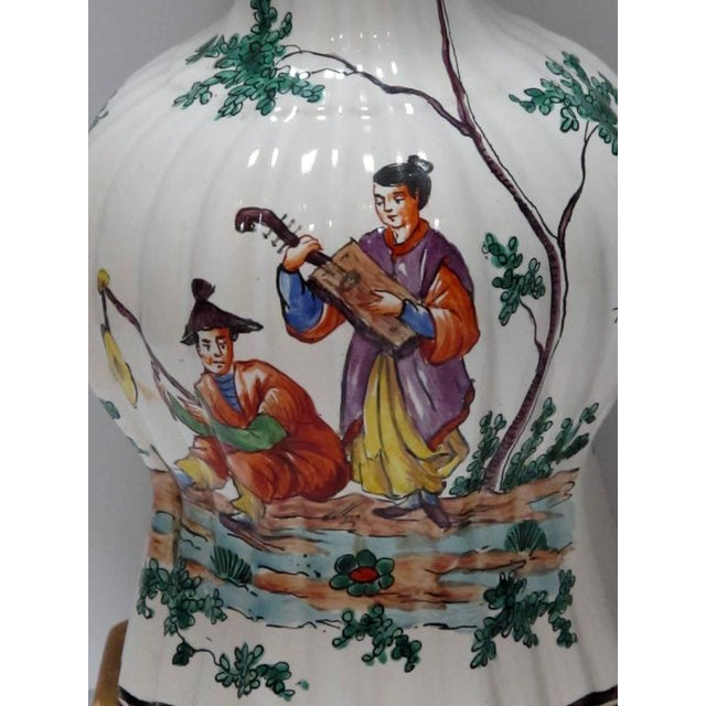 Good Pair of French Moustiers Faience Chinoiserie Style Knobble Vase Lamps - Image 3 of 4