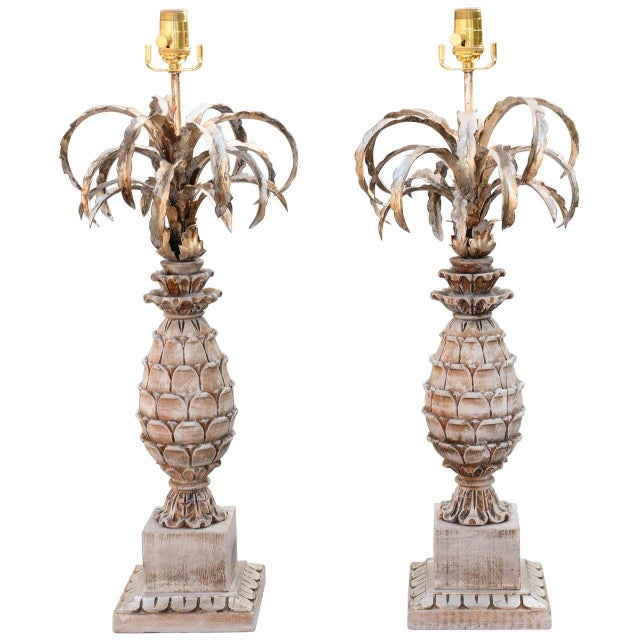 Carved Wood and Metal Pineapple Form Lamps - a Pair For Sale - Image 10 of 10
